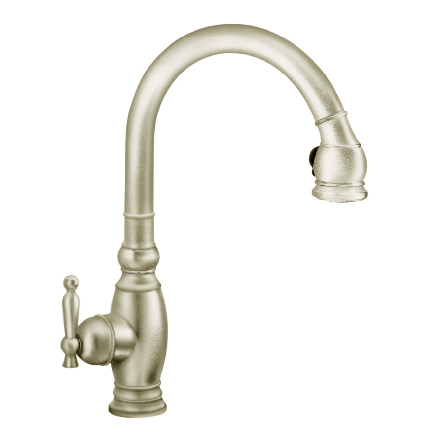 shop kohler vinnata vibrant brushed nickel 1 handle pull down kitchen