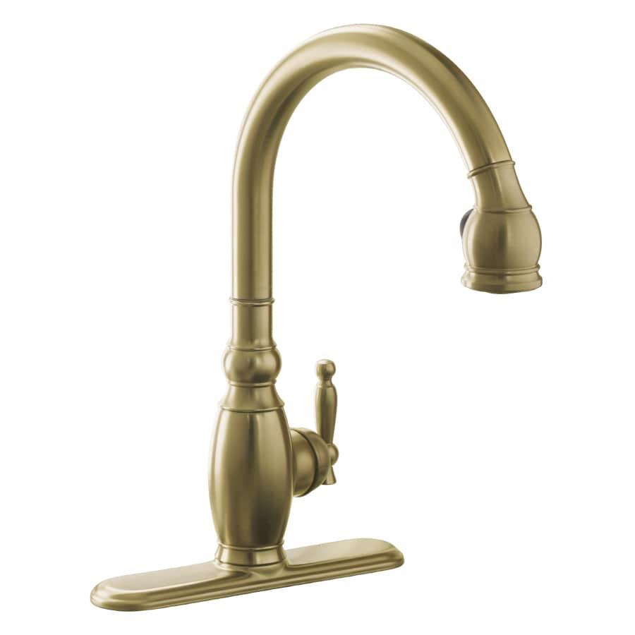 KOHLER Vinnata Vibrant Brushed Bronze 1-Handle Pull-Down Kitchen Faucet
