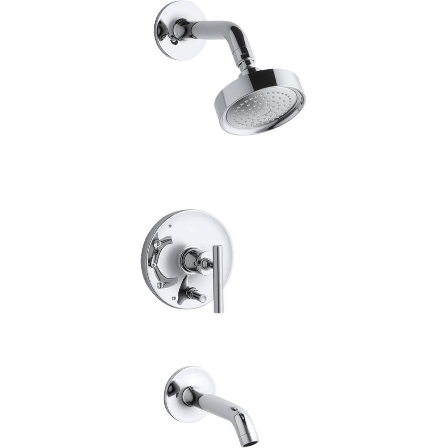 KOHLER Purist Polished Chrome 1-Handle Bathtub and Shower Faucet Trim Kit with Single Function Showerhead