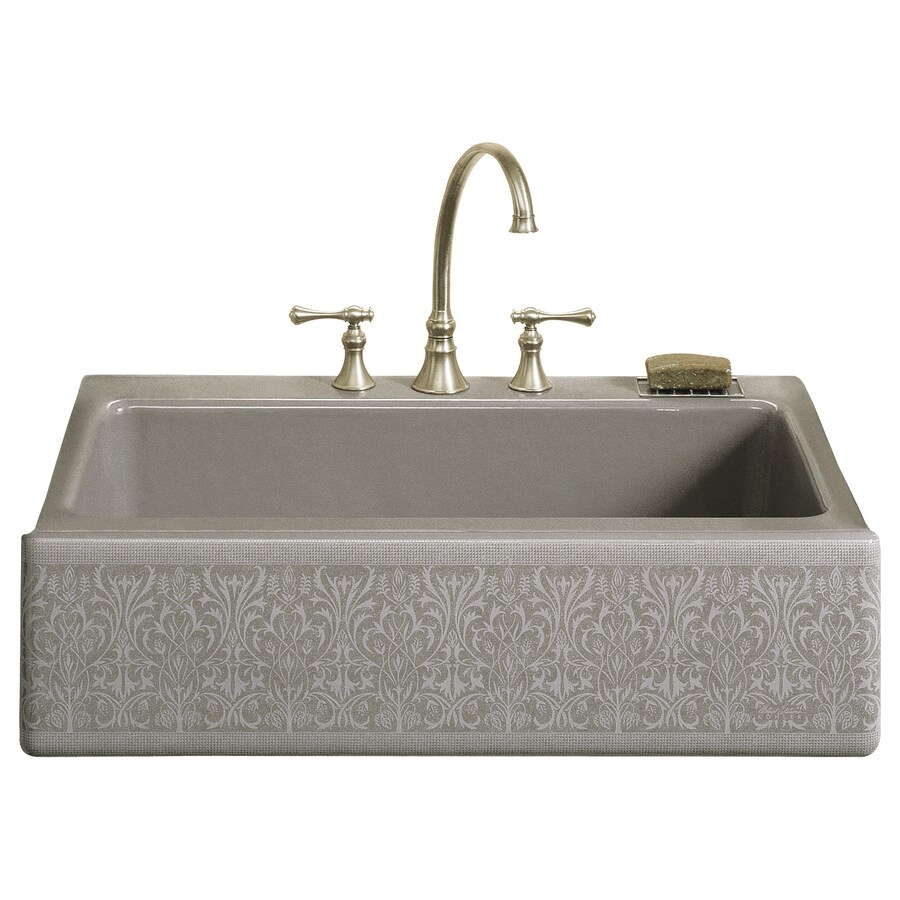 KOHLER Alencon Lace 22.12-in x 33-in Sandbar Single-Basin Cast Iron Apron Front/Farmhouse 4-Hole Residential Kitchen Sink