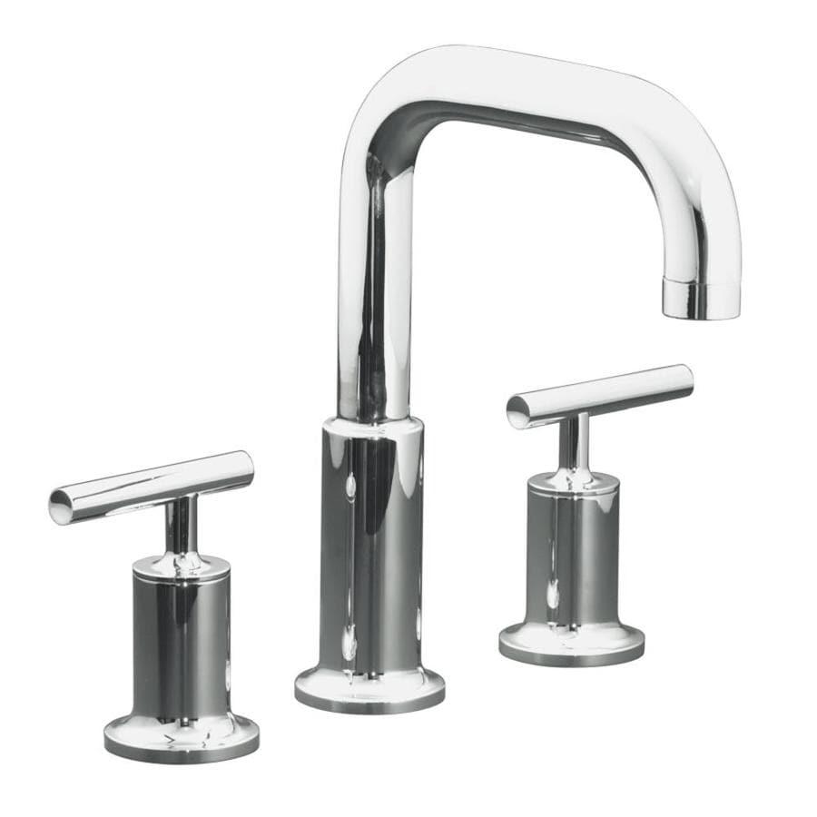 Shop Kohler Purist Polished Chrome 2 Handle Fixed Deck Mount Bathtub Faucet At Lowes Com