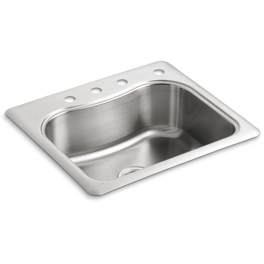 KOHLER Staccato 22-in x 25-in Stainless Steel Single-Basin Drop-in 1 ...