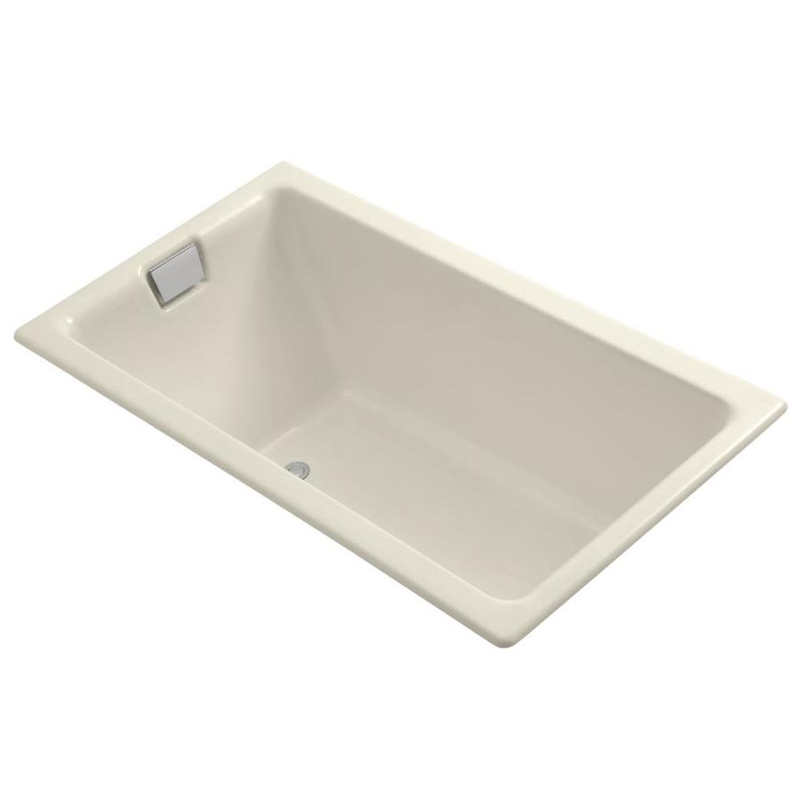 KOHLER Tea-For-Two Almond Cast Iron Rectangular Drop-in Bathtub with Reversible Drain (Common: 36-in x 66-in; Actual: 24-in x 36-in x 66-in)