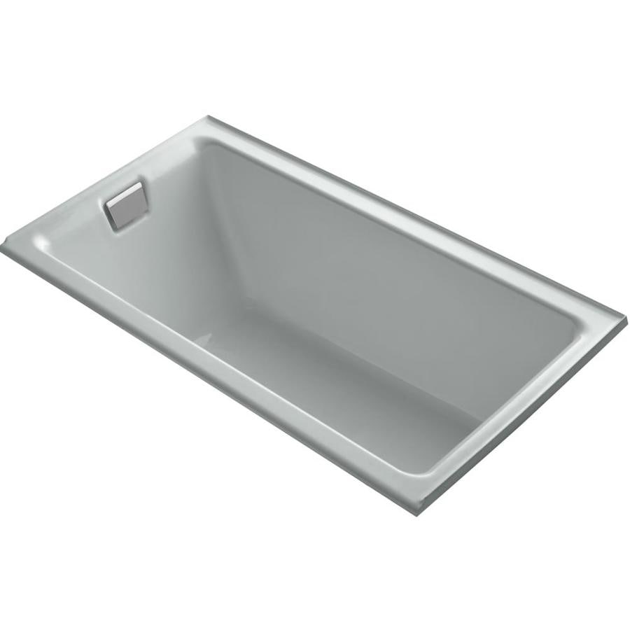 KOHLER Tea-For-Two Ice Grey Cast Iron Rectangular Drop-in Bathtub with Left-Hand Drain (Common: 36-in x 66-in; Actual: 24-in x 36-in x 66-in)