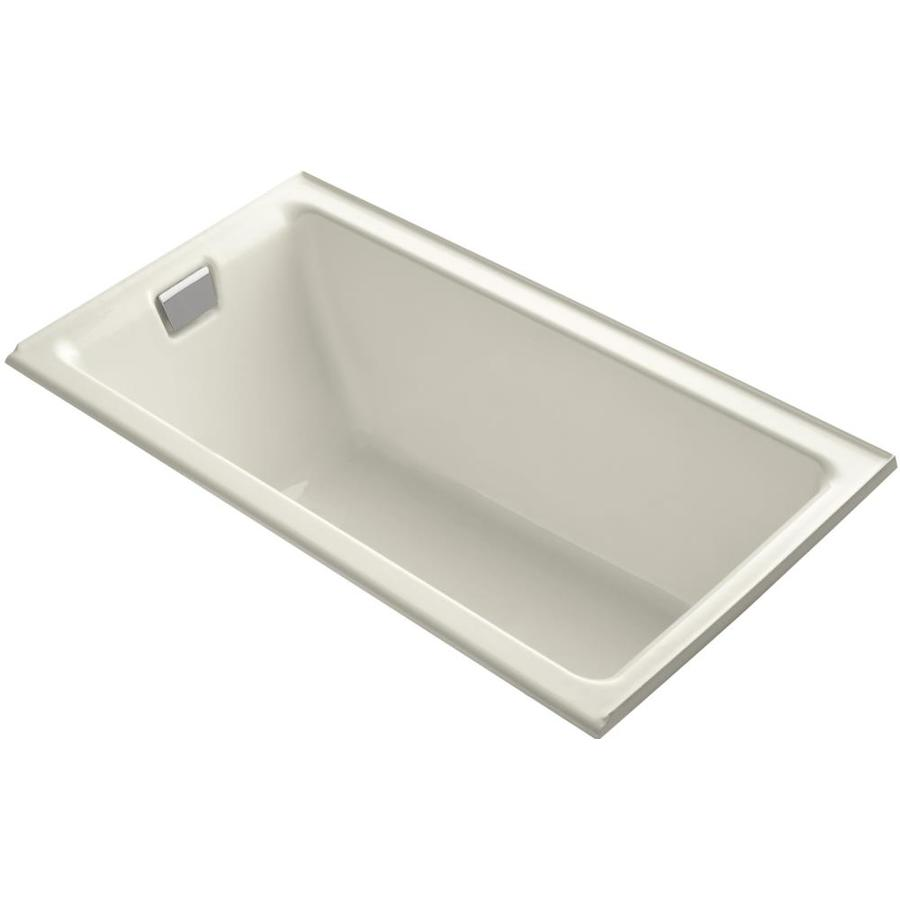 KOHLER Tea-For-Two Biscuit Cast Iron Rectangular Drop-in Bathtub with Left-Hand Drain (Common: 36-in x 66-in; Actual: 24-in x 36-in x 66-in)