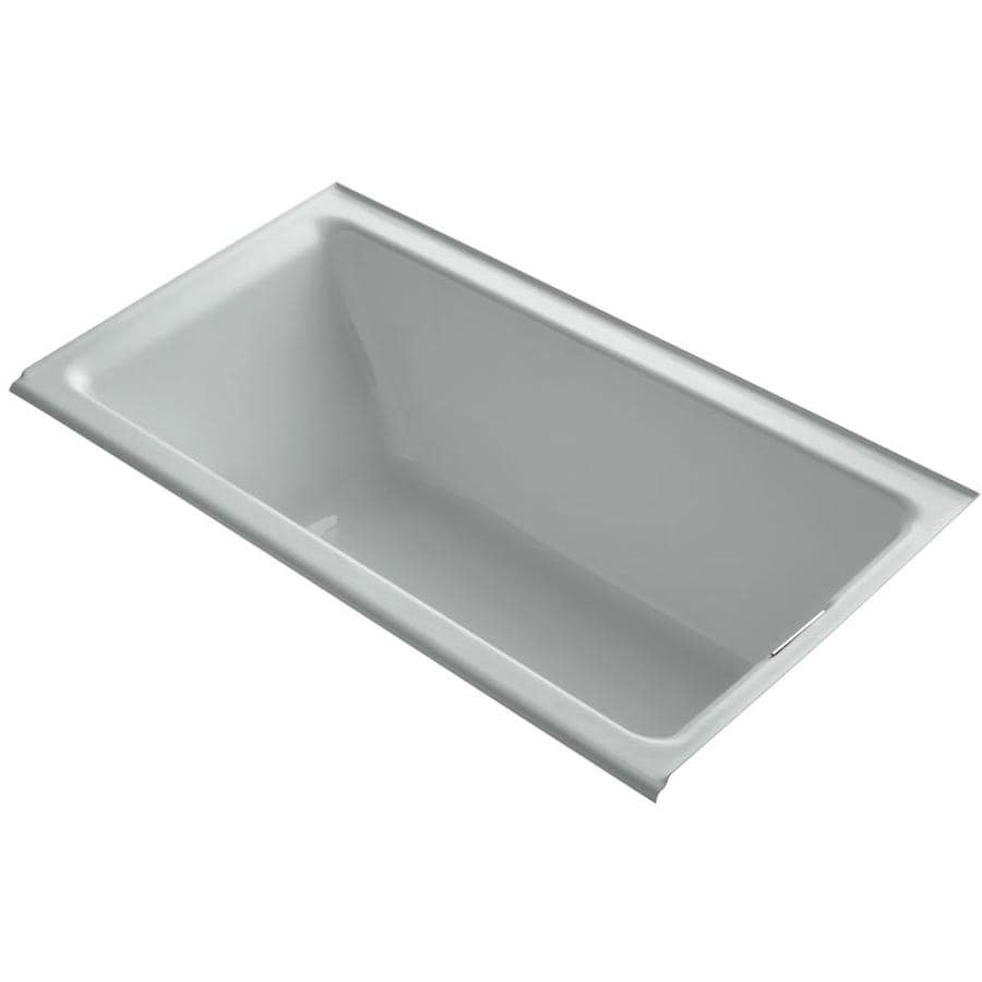 kohler tea for two ice grey cast iron rectangular drop in bathtub with