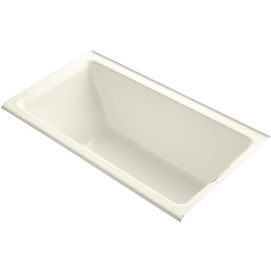 KOHLER Tea-For-Two Biscuit Cast Iron Rectangular Drop-in Bathtub with Right-Hand Drain (Common: 36-in x 66-in; Actual: 24-in x 36-in x 66-in)