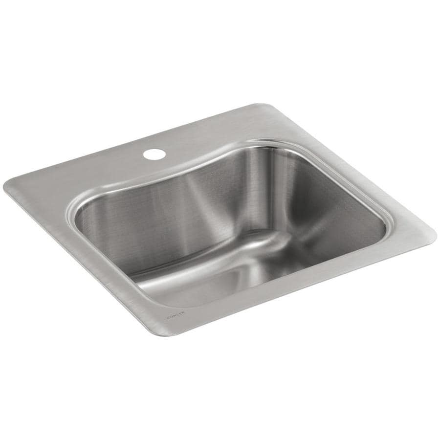KOHLER Staccato Stainless Steel Single-Basin 1-Hole Drop-in Commercial Bar Sink
