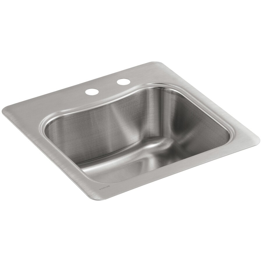 KOHLER Staccato Stainless Steel Single-Basin 2-Hole Stainless Steel Drop-in Commercial Bar Sink