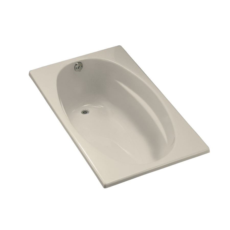 KOHLER Underscore Almond Acrylic Oval In Rectangle Drop-in Bathtub with Left-Hand Drain (Common: 36-in x 60-in; Actual: 18.13-in x 36-in x 60-in)