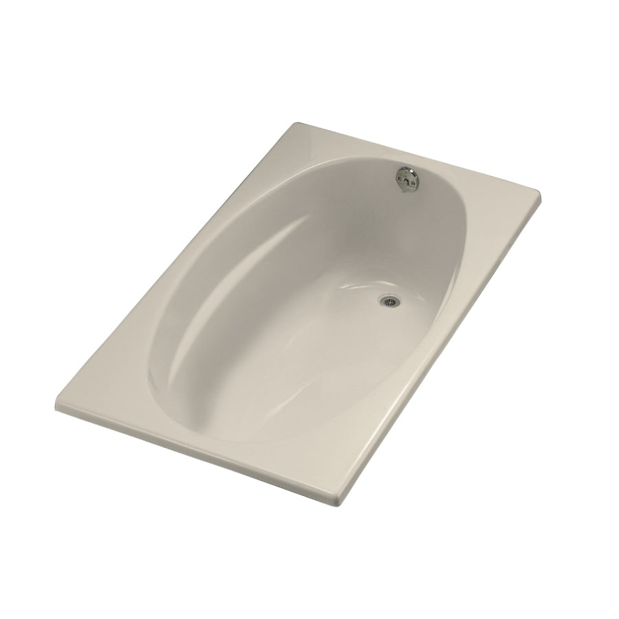 KOHLER Underscore Almond Acrylic Oval In Rectangle Drop-in Bathtub with Right-Hand Drain (Common: 36-in x 60-in; Actual: 18.13-in x 36-in x 60-in)