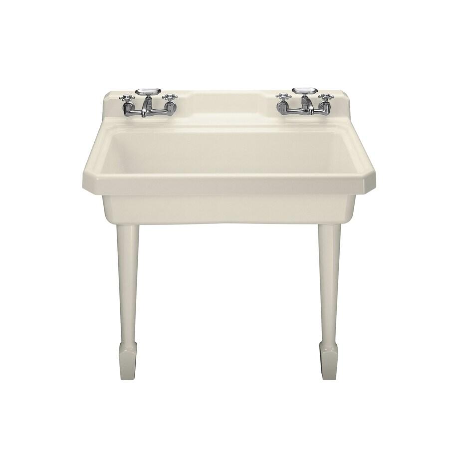 KOHLER 28-in x 48-in Almond Wall Mount Cast Iron Laundry Utility Sink