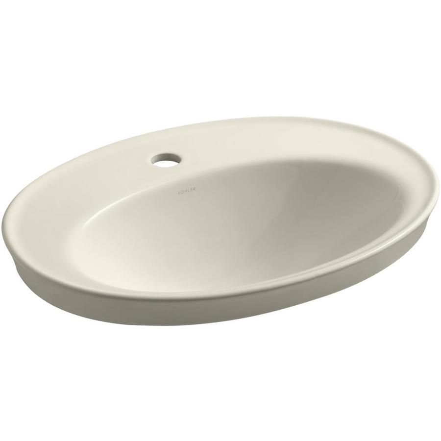 KOHLER Serif Almond Drop-in Oval Bathroom Sink with Overflow