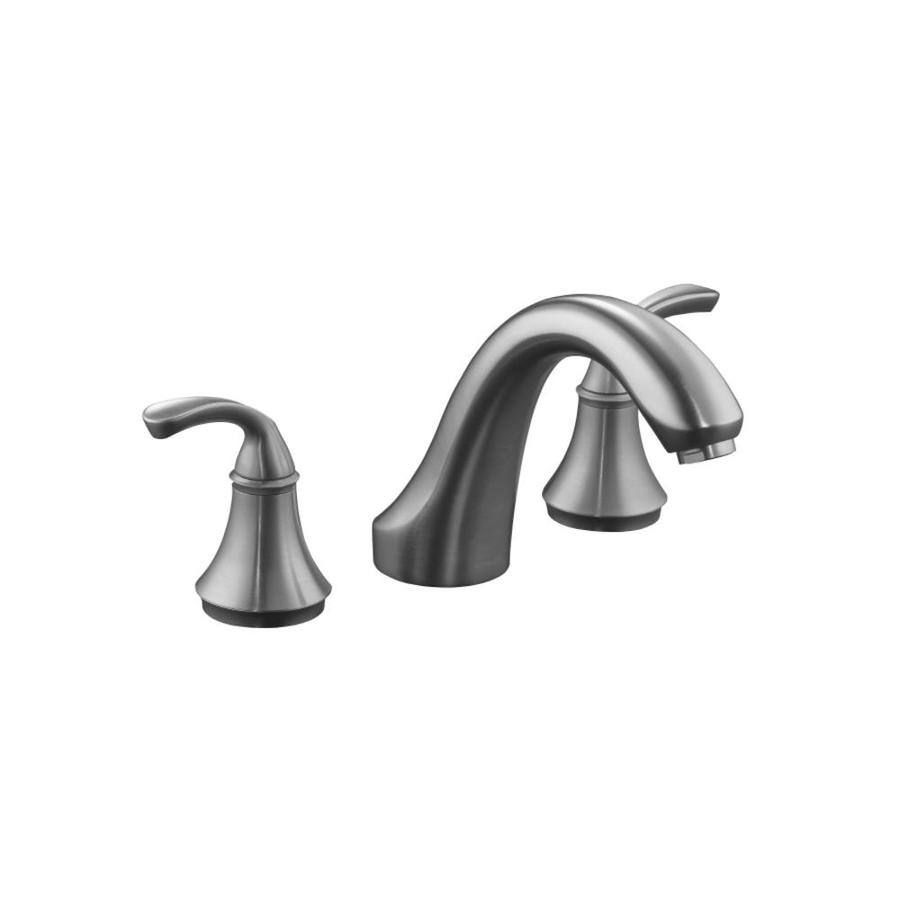 KOHLER Forte Brushed Chrome 2-Handle Fixed Deck Mount Bathtub Faucet