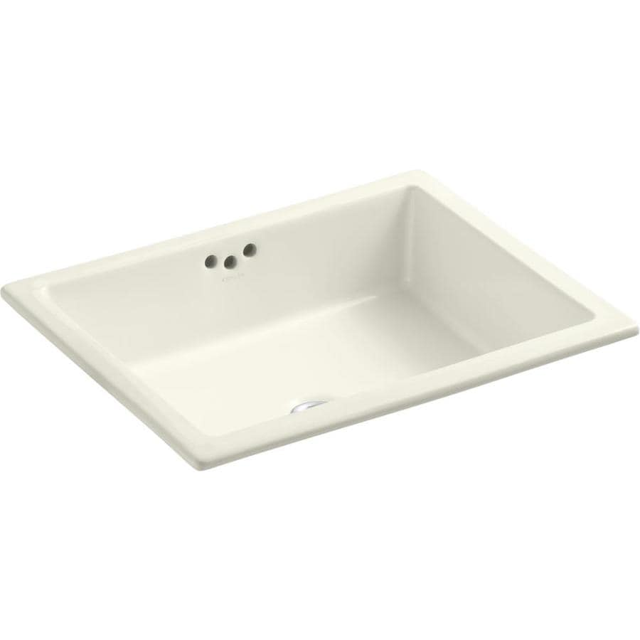 shop kohler kathryn biscuit undermount rectangular bathroom sink with overflow at lowes com