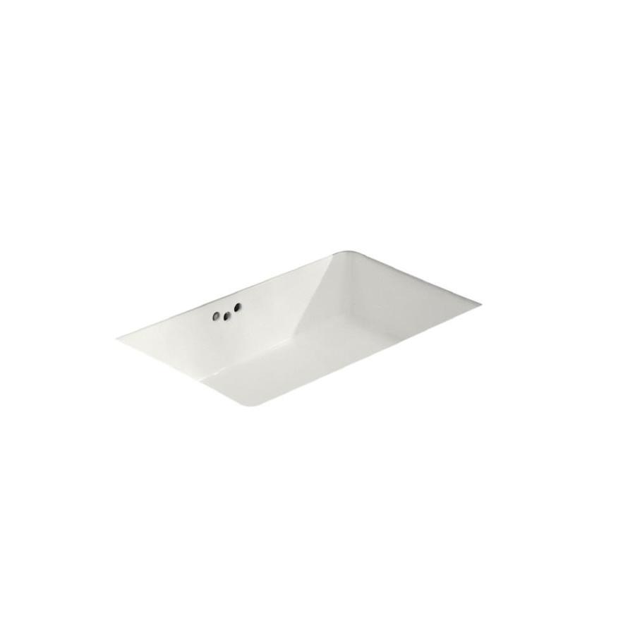 KOHLER Kathryn White Undermount Rectangular Bathroom Sink with Overflow