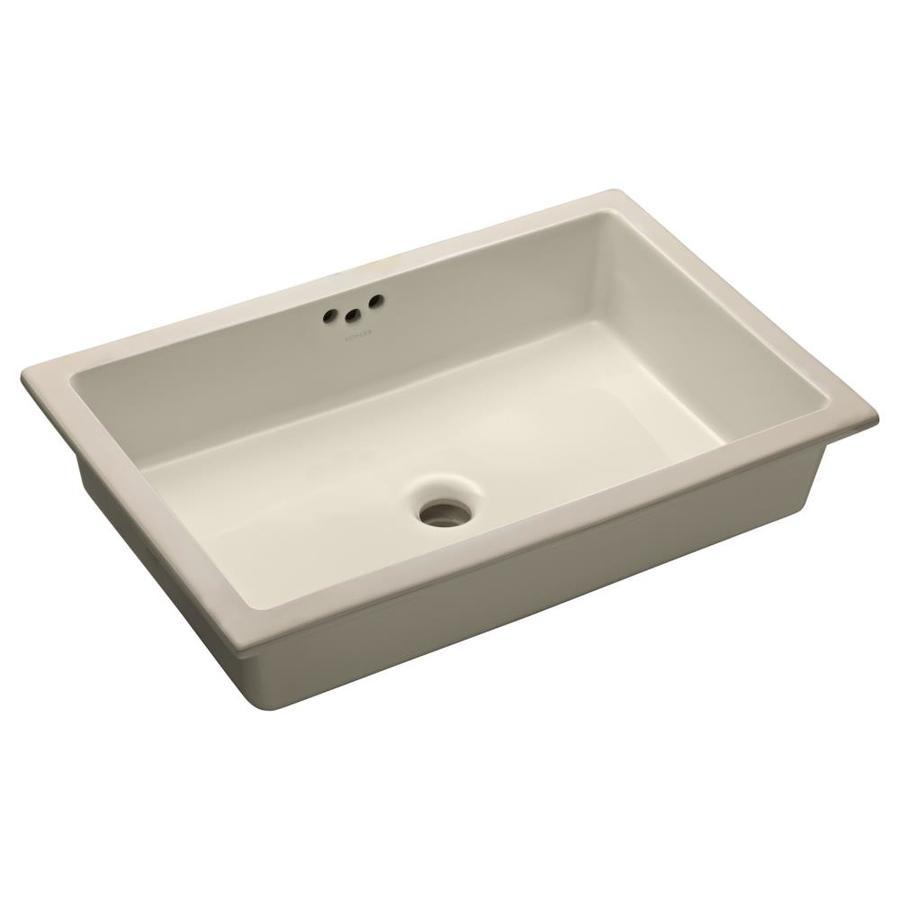 KOHLER Kathryn Biscuit Undermount Rectangular Bathroom Sink with Overflow