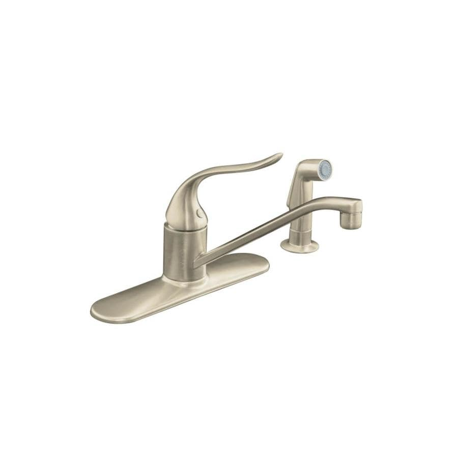 Kohler Kitchen Faucet With Side Spray : Kohler coralais vibrant brushed nickel handle low arc kitchen faucet with side spray at