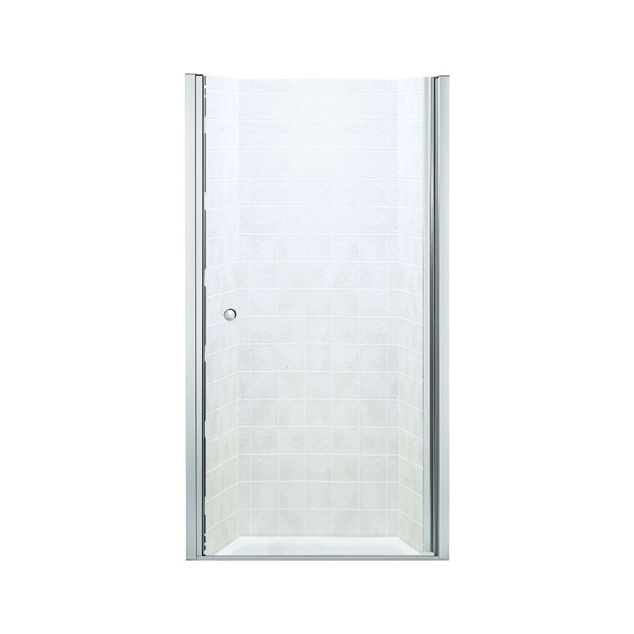 Sterling 35-in to 36-1/2-in Silver Frameless Hinged Shower Door