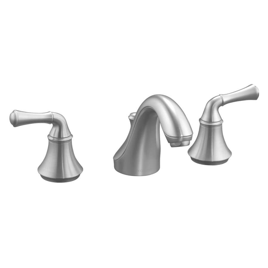 KOHLER Forte Brushed Chrome 2-Handle Widespread WaterSense Bathroom Faucet (Drain Included)