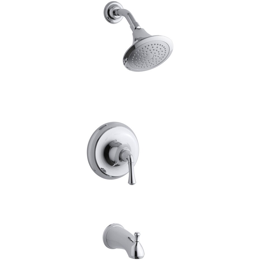 KOHLER Forte Polished Chrome 1-Handle Bathtub and Shower Faucet Trim Kit with Single Function Showerhead