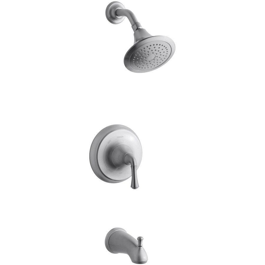 KOHLER Forte Brushed Chrome 1-Handle Bathtub and Shower Faucet Trim Kit with Single Function Showerhead