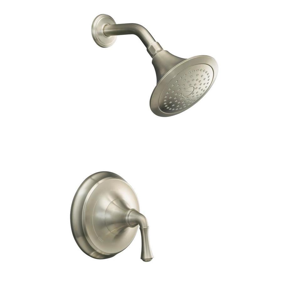 KOHLER Forte Vibrant Brushed Nickel 1-Handle Shower Faucet Trim Kit with Single Function Showerhead