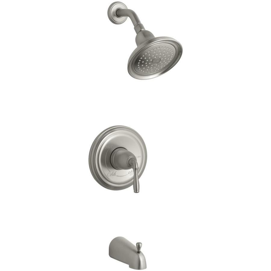 KOHLER Devonshire Vibrant Brushed Nickel 1-Handle Bathtub and Shower Faucet Trim Kit with Single Function Showerhead
