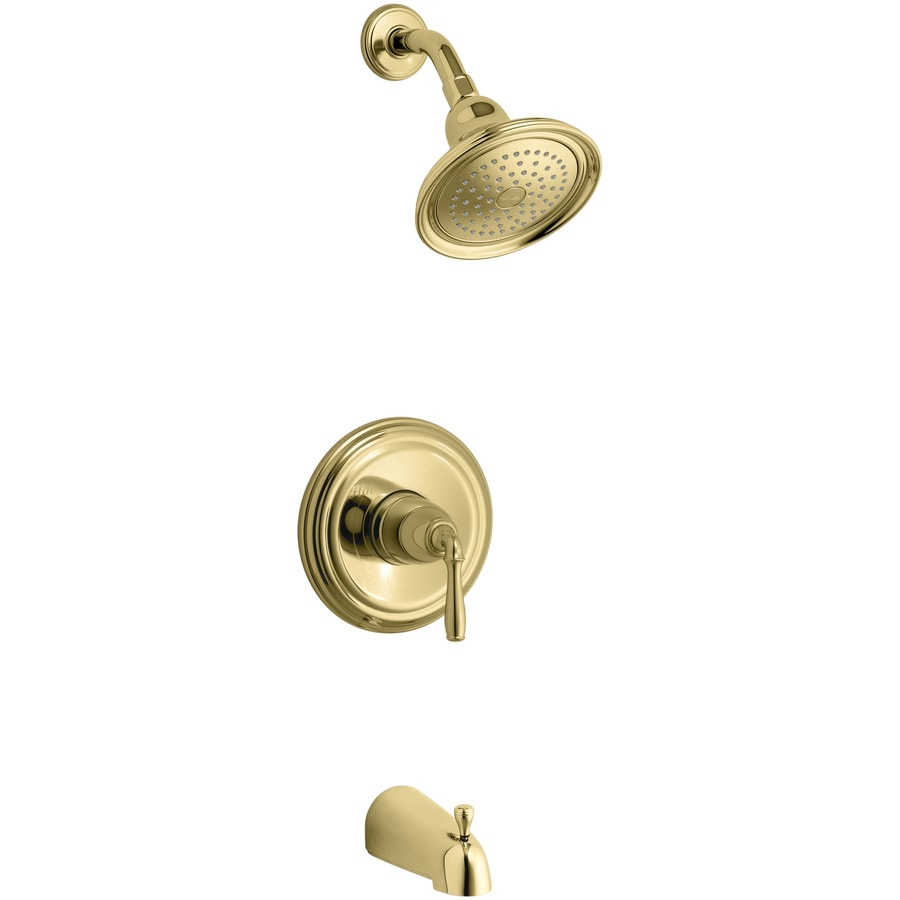 KOHLER Devonshire Vibrant Polished Brass 1-Handle Bathtub and Shower Faucet Trim Kit with Single Function Showerhead