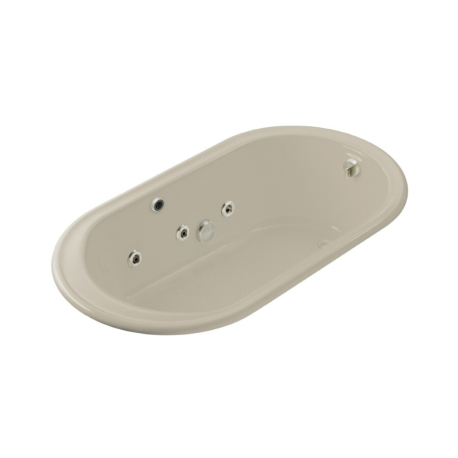 KOHLER Iron Works 2-Person Sandbar Cast Iron Oval Whirlpool Tub (Common: 36-in x 66-in; Actual: 19-in x 36-in x 66-in)