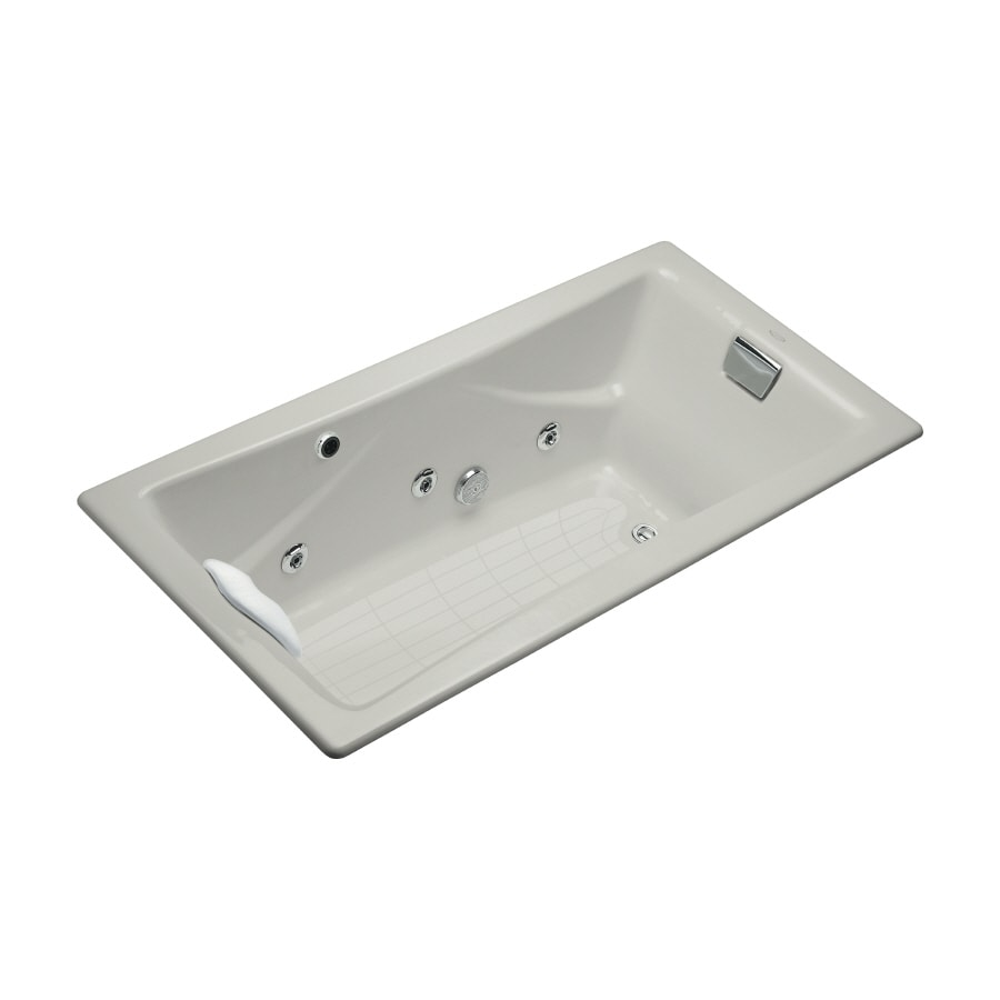 KOHLER Tea-For-Two 2-Person Ice Grey Cast Iron Rectangular Whirlpool Tub (Common: 36-in x 72-in; Actual: 20.875-in x 36-in x 71.75-in)