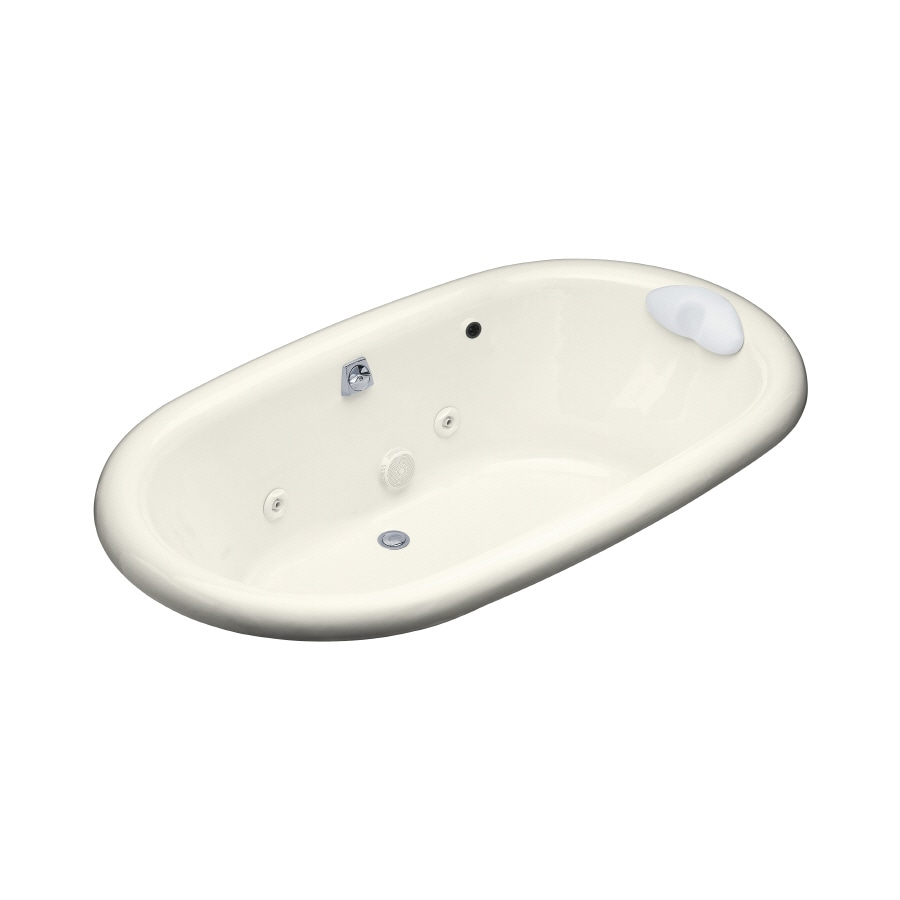KOHLER Vintage 2-Person Biscuit Cast Iron Oval Whirlpool Tub (Common: 42-in x 72-in; Actual: 21.1875-in x 42-in x 72-in)