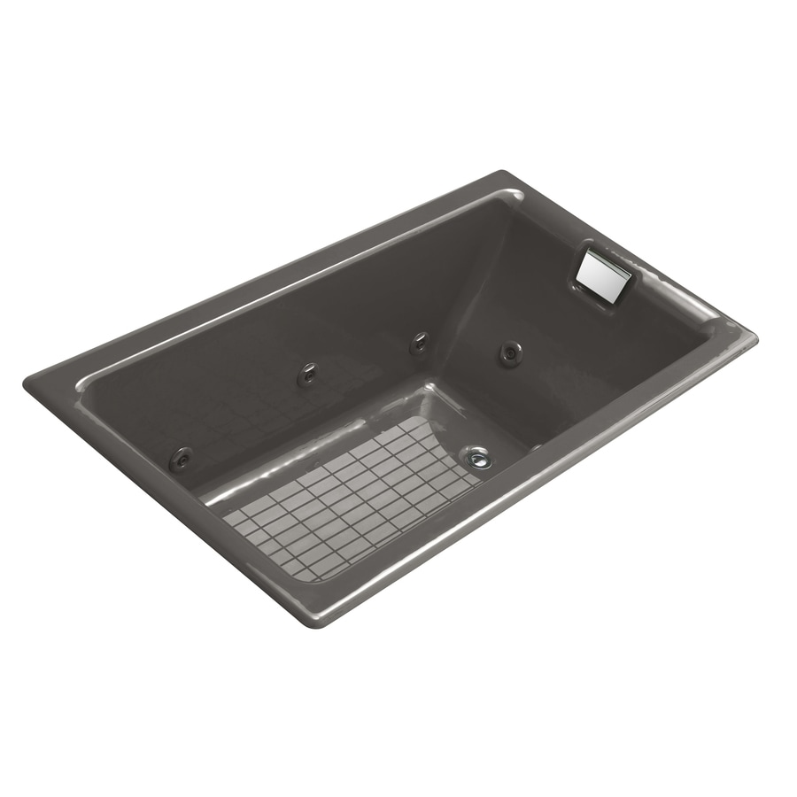 KOHLER Tea-For-Two 2-Person Thunder Grey Cast Iron Rectangular Whirlpool Tub (Common: 36-in x 66-in; Actual: 24-in x 36-in x 66-in)