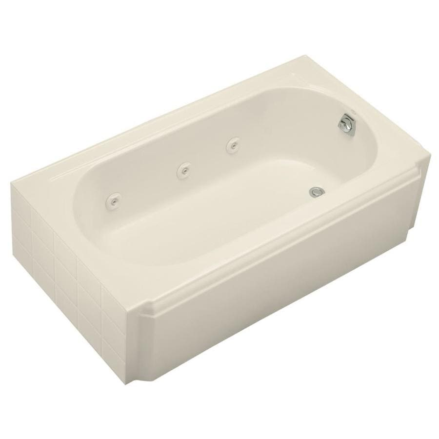 shop kohler memoirs almond cast iron oval in rectangle whirlpool tub