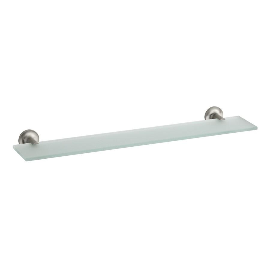 KOHLER Purist Vibrant Brushed Nickel Glass Bathroom Shelf