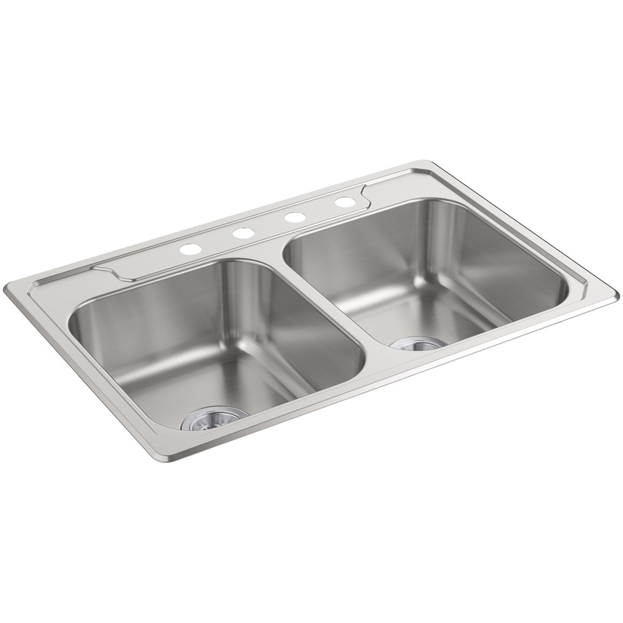 Sterling Middleton 22-in x 33-in Satin Double-Basin Stainless Steel Drop-In 4-Hole Residential Kitchen Sink