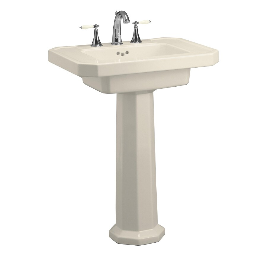 KOHLER Kathryn 35-in H Almond Fire Clay Pedestal Sink