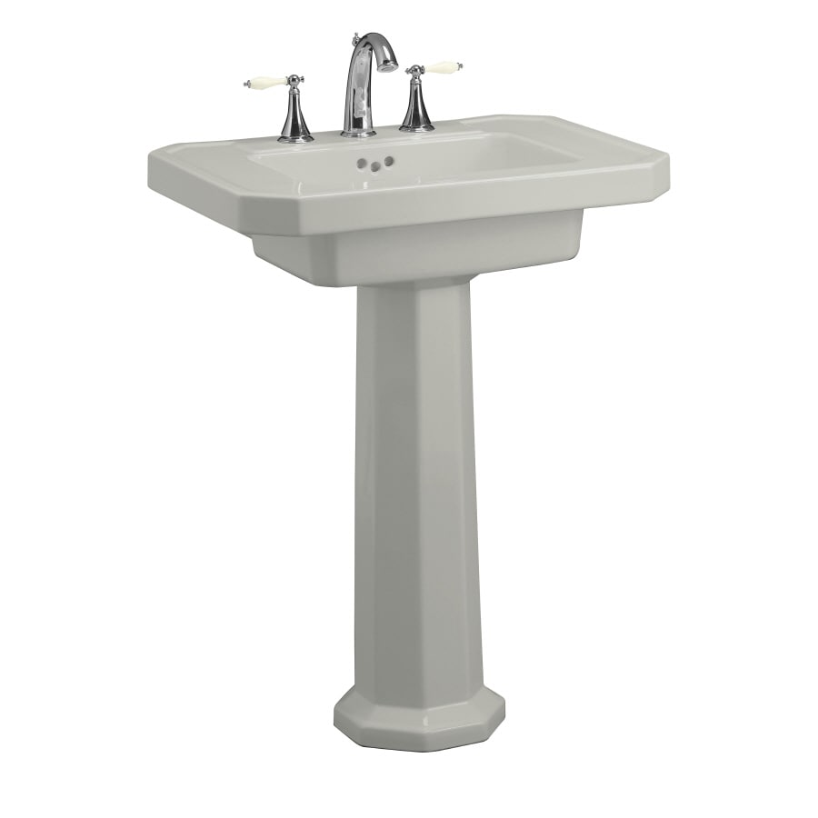 KOHLER Kathryn 35-in H Ice Grey Fire Clay Pedestal Sink