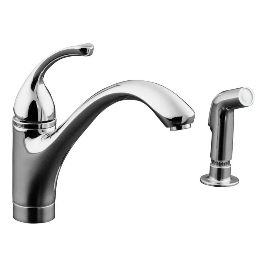 Kohler Kitchen Faucet With Side Spray : Kohler forte polished chrome handle low arc kitchen faucet with side spray at lowes