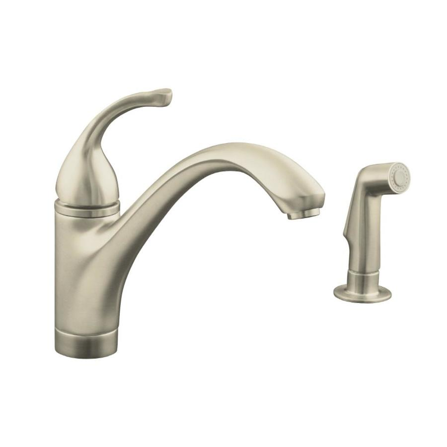 KOHLER Forte Vibrant Brushed Nickel 1-Handle Low-Arc Kitchen Faucet with Side Spray