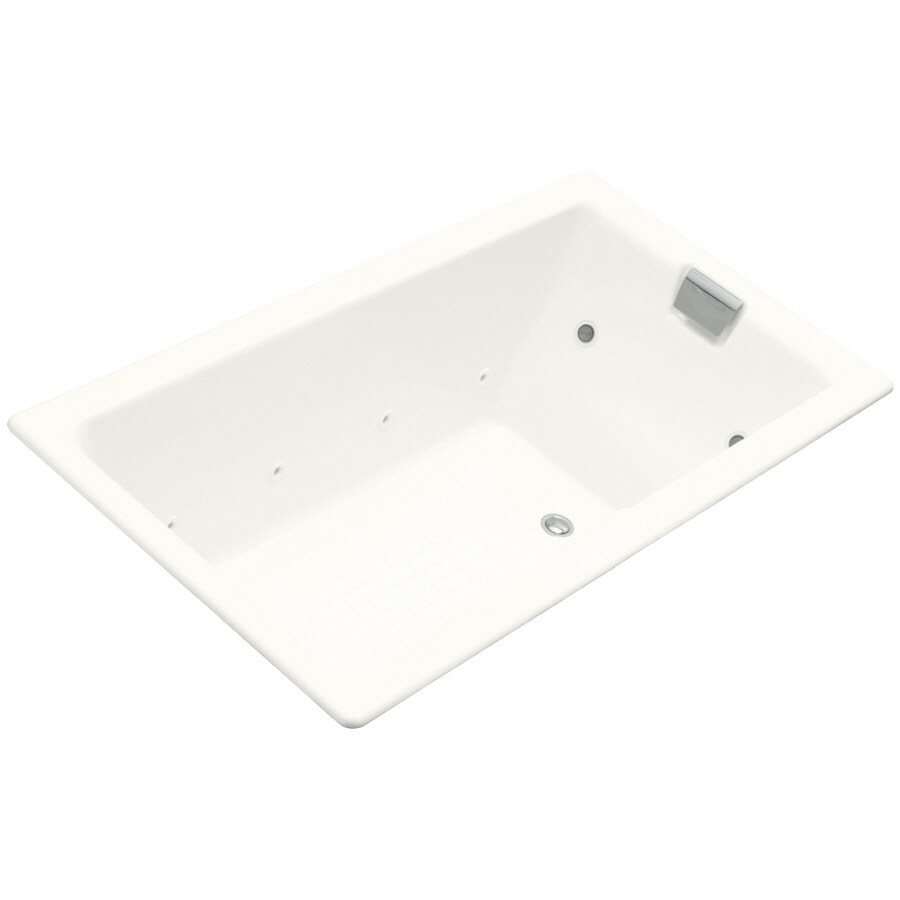 KOHLER Tea-For-Two 2-Person White Cast Iron Rectangular Whirlpool Tub (Common: 36-in x 66-in; Actual: 24-in x 36-in x 66-in)