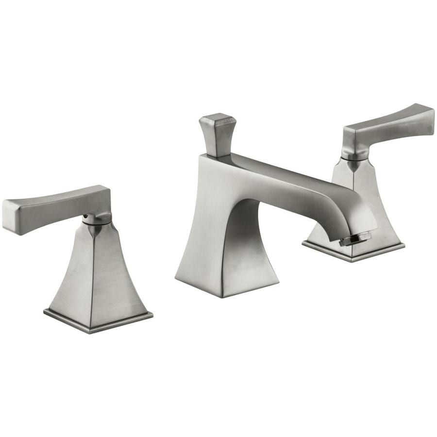 Bathroom Faucets Brushed Nickel Widespread : Vibrant Brushed Nickel 2-Handle Widespread WaterSense Bathroom Faucet ...