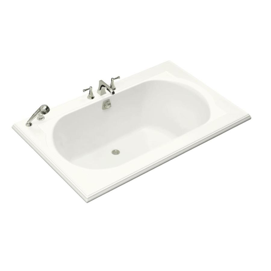 KOHLER Memoirs White Acrylic Oval In Rectangle Drop-in Bathtub with Back Center Drain (Common: 42-in x 66-in; Actual: 22-in x 42-in x 66-in)