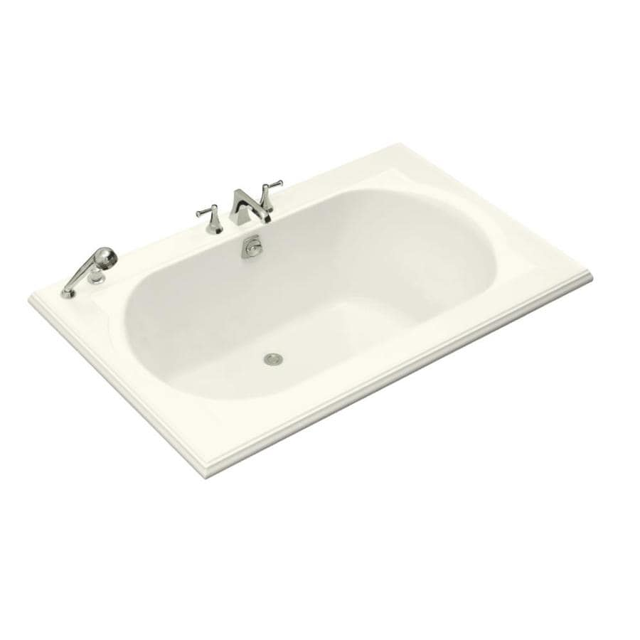 KOHLER Memoirs Biscuit Acrylic Oval In Rectangle Drop-in Bathtub with Back Center Drain (Common: 42-in x 66-in; Actual: 22-in x 42-in x 66-in)