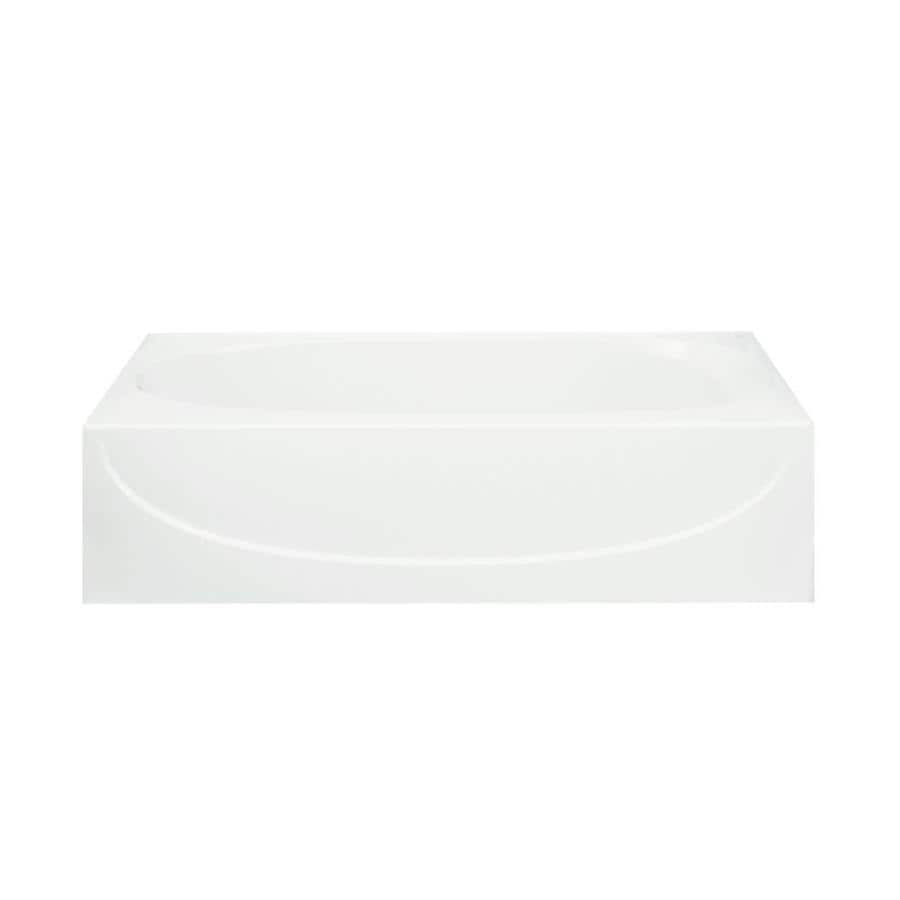 Sterling Acclaim White Fiberglass and Plastic Composite Oval In Rectangle Skirted Bathtub with Left-Hand Drain (Common: 30-in x 60-in; Actual: 17.25-in x 30.5-in x 60.25-in)
