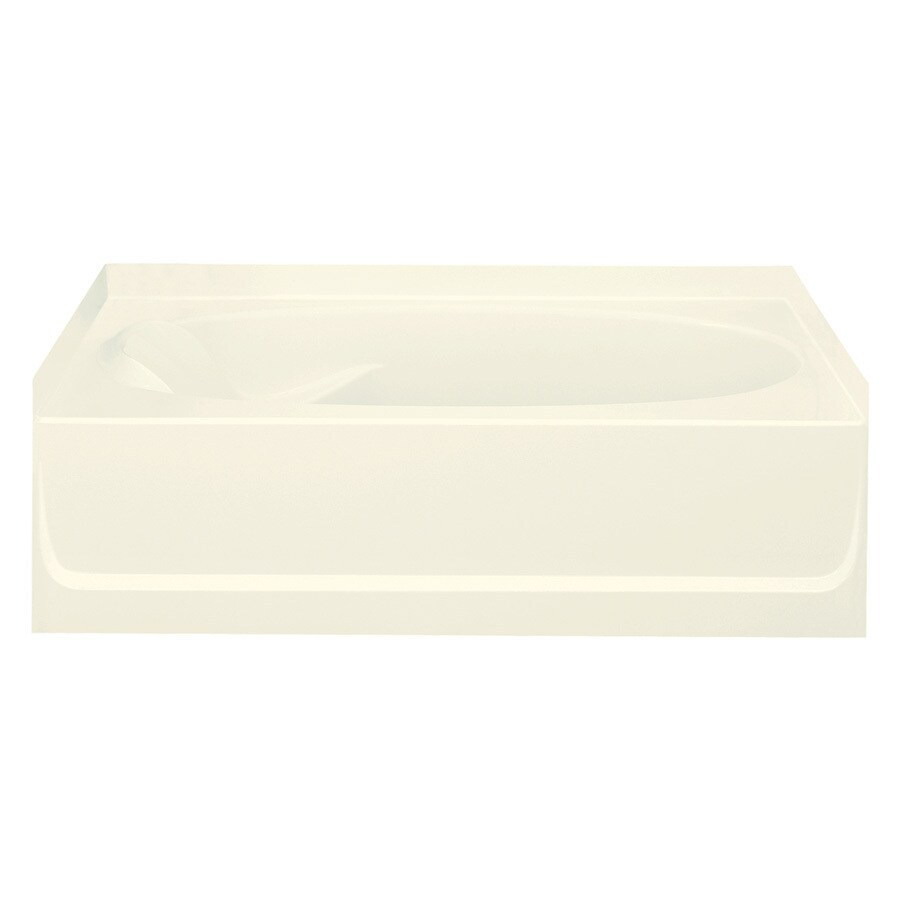 Sterling Ensemble Biscuit Fiberglass and Plastic Composite Oval In Rectangle Skirted Bathtub with Right-Hand Drain (Common: 36-in x 60-in; Actual: 18.25-in x 36-in x 60.25-in)