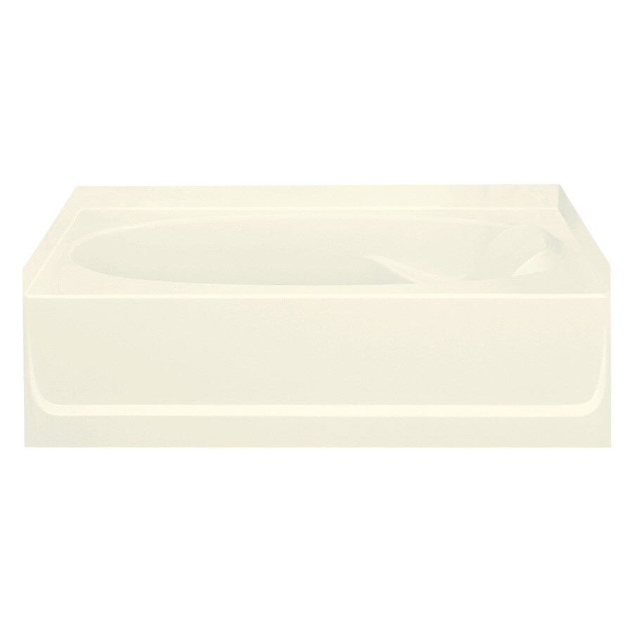 Sterling Ensemble Biscuit Fiberglass and Plastic Composite Oval In Rectangle Skirted Bathtub with Left-Hand Drain (Common: 42-in x 60-in; Actual: 18.25-in x 42-in x 60.25-in)