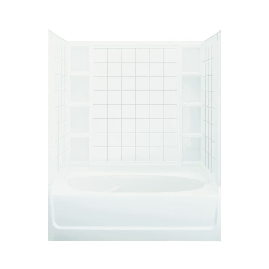 Sterling Ensemble White Fiberglass and Plastic Composite Oval In Rectangle Skirted Bathtub with Right-Hand Drain (Common: 42-in x 60-in; Actual: 74.25-in x 42-in x 60.25-in)