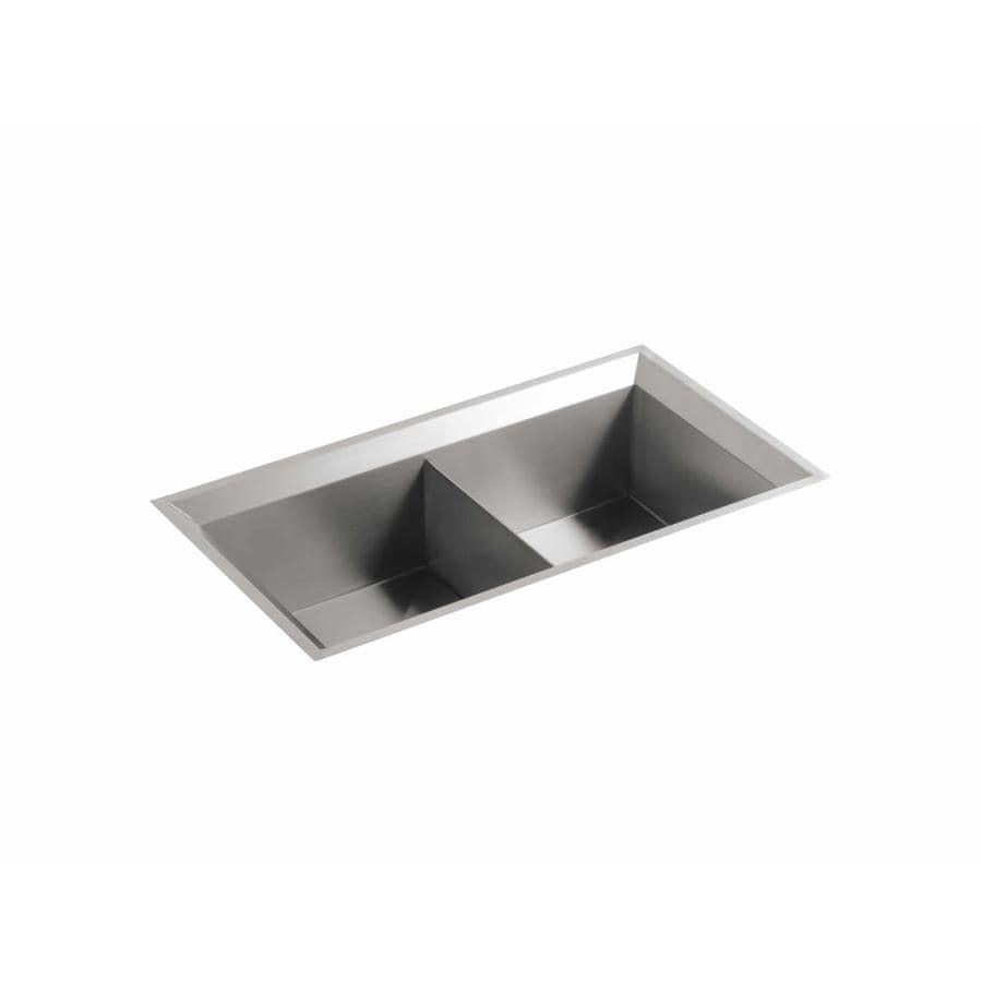 KOHLER Poise 18-in x 33-in Stainless Steel Double-Basin Undermount Residential Kitchen Sink