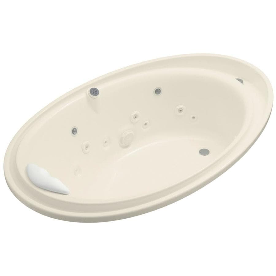 KOHLER Purist Almond Acrylic Oval Whirlpool Tub (Common: 46-in x 72-in; Actual: 23.1875-in x 46-in x 72-in)